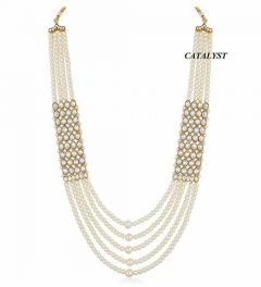 CATALYST Designer Pearl Wedding Necklace Jewellery Set For Groom & Mens (White & Golden)