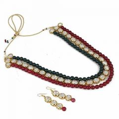 CATALYST Designer Pearl & Kundan Necklace Jewellery Set With Earrings For Womens (Multi-Color)