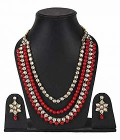 CATALYST Designer Pearl & Kundan Necklace Jewellery Set With Earrings For Womens (Red)