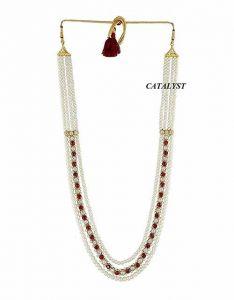 CATALYST Designer Pearl Wedding Necklace Moti For Groom & Mens (White) (30 cm)