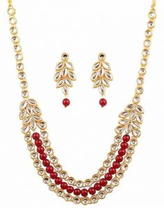 CATALYST Designer Pearl & Kundan Necklace Jewellery Set With Earrings For Womens (Red & Gold)