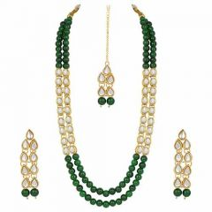 CATALYST Designer Pearl & Kundan Necklace Jewellery Set With Earrings For Womens (Green)