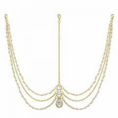 CATALYST Gold Plated Pearl Chain Matha Patti Maang Tikka Jewellery Set For Women (Golden)