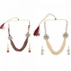 CATALYST Stylish and Fancy Pearl Beaded Multi-Layer Strand Mala Necklace With Earrings Set For Women (Pack of 2)