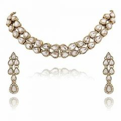CATALYST Gold-Plated Simulated Choker Necklace Jewellery Set With Earrings For Womens (Golden)