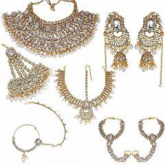 CATALYST Stylish Gold Plated & Kundan Bridal Jewellery Set For Women