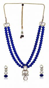 CATALYST Designer and Stylish Faux Pearl Necklace Jewellery Set With Earrings For Womens (Blue)