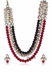 CATALYST Stylish Designer Pearl and Diamond Necklace With Earrings For Women (Red & Black)