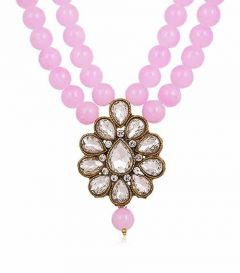 CATALYST Stylish Pearl Necklace Jewellery Set With Earrings For Womens (Baby Pink)