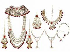 CATALYST Stylish Kundan Bridal Jewellery Set For Womens (Maroon)