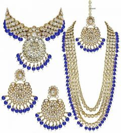 CATALYST Stylish Stone and Pearl Necklace With Earring For Women & Girls (Golden)