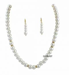 CATALYST Stylish and Designer Pearl Necklace With Earring For Women & Girls (White)