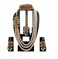 CATALYST Traditional and Stylish Pearl Necklace With Earring and Maang Tikka For Women & Girls (White & Golden)