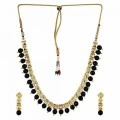 CATALYST Traditional and Designer Gold Plated Stone Necklace With Earrings For Women (Black)