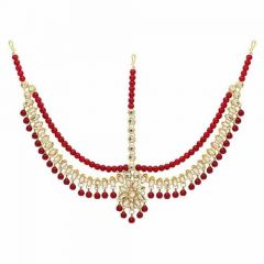 CATALYST Gold Pearl Matha Patti Maang Tikka Jewellery Set For Women (Pack of 1)