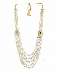 CATALYST Designer Pearl Wedding Necklace Moti For Groom & Mens (White)