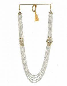 CATALYST Designer Pearl Single Layer Wedding Necklace Moti For Groom & Mens (White) (42 cm)