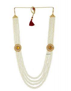CATALYST Designer Pearl Wedding Necklace Moti For Groom & Mens