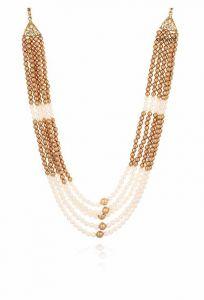 CATALYST Designer Pearl Wedding Necklace Moti For Groom & Mens (White & Golden) (49 cm)