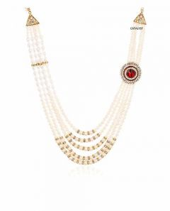 CATALYST Designer Pearl Wedding Necklace Moti For Groom & Mens (White) (46 cm)