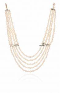 CATALYST Designer Pearl Wedding Necklace Moti For Groom & Mens (White) (53 cm)