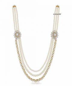 CATALYST Designer Pearl Wedding Necklace Moti Jewellery For Groom & Mens (White) (3 cm)