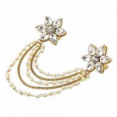 CATALYST Gold Plated Kundan Ring Bracelet For Women (Golden) (Pack of 1)