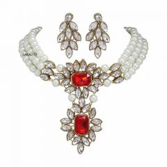 CATALYST Simulated Choker Necklace Jewellery Set With Earrings For Womens & Girls (Red)