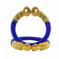 CATALYST Rajasthani Rajwadi Stone and Meenakari Work Gold Plating Small Bead Pearl Bangle For Women and Girls (Pack of 2)
