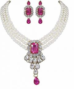 CATALYST Stylish Pearl Necklace Set With Earrings Jewellery Set For Womens (Pink)