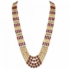 CATALYST Designer and Stylish Pearl Wedding Necklace Moti Haar For Groom & Mens