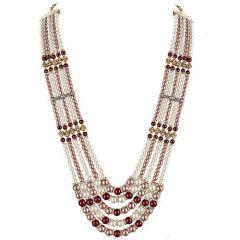 CATALYST Designer Pearl Single Layer Wedding Necklace Moti For Groom & Mens (Maroon) (64 cm)