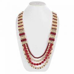 CATALYST Designer Pearl Wedding Necklace Moti For Groom & Mens (Red) (63 cm)