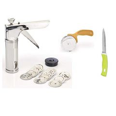 High Quality Stainless Steel 1 Kitchen Express Gripper, 1 Karanji Cutter And 1 Swift Utility Knife 230 mm (Silver) (Pack of 3)