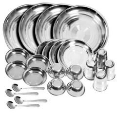 High Quality Stainless Steel Dinner Set (Glass, Curry Bowl, Desert Bowl, Spoon, Quarter Plate and Full Plate) (Pack of 24)