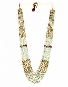CATALYST Designer Pearl Wedding Necklace Moti For Groom & Mens (White Golden) (66 cm)