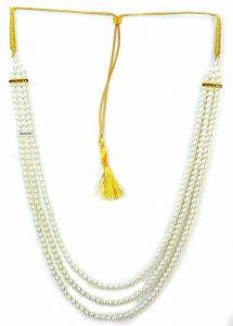 CATALYST Designer Pearl Wedding Necklace Moti For Groom & Mens (White) (69 cm)