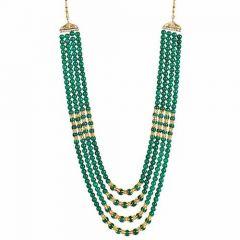 CATALYST Designer Pearl Wedding Necklace Moti For Groom & Mens (Green) (65 cm)