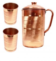 Apro High Quality Copper Jug With 2 Glass (Copper) (Combo Pack)