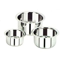 Apro High Quality Stainless Steel Tope Patila Pot (Silver) (Pack of 3)