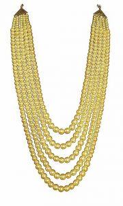 CATALYST Designer Pearl Wedding Necklace Moti For Groom & Mens (Golden) (74 cm)