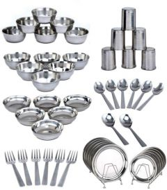 Apro High-Quality Stainless Steel Dinner Set For Kitchen Use (Pack of 50)
