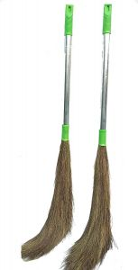 Apro Jhadu For Floor And Home With Steel Handal Broom Eco-Friendly Soft Grass Floor Broom For Cleaning Home (Multi-Color) (Pack of 2)