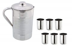 Apro High-Quality Stainless Steel Jug 1500 ml With 6 Glasses 200ml (Silver)