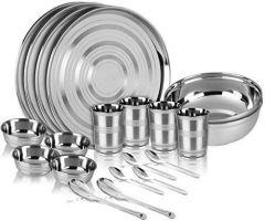 Apro High Quality Stainless Steel Dinner Set 3 Full Plate, 3 Glass, 6 Katori, 3 Halva Katori, 3 Spoon (Silver) (Pack of 18)