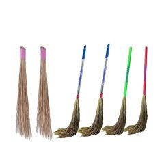 Apro Large Size Natural Broom Stick Fool Jharu And Coconut Stick Jharu For Home Cleaning (Multi-Color) (Pack of 6)