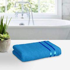 Apro 100% Natural Cotton Bath Towel, Size: 140x70 cm (Blue) ( Pack of 2)