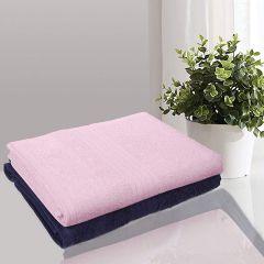 Apro 100% Natural Cotton Bath Towel, Size: 140x70 cm (Blue Pink ) ( Pack of 2)