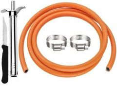 Skygold LPG Gas Pipe 1.5 Miter With Lighter, Knife And 2 Clamps Hose Pipe For Kitchen Use (Multi-Color) (Combo Pack)