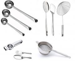 Skygold High-Quality Stainless Steel Kitchen Tools (Silver) (Pack of 10)